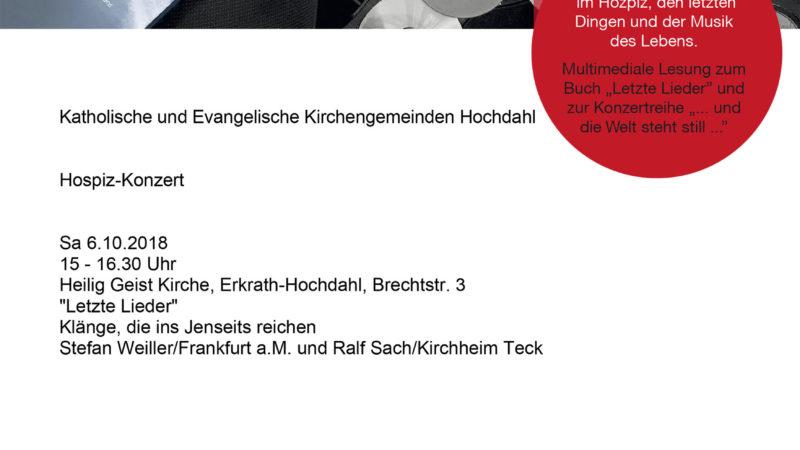 """""""Letzte Lieder"""" – Hospiz-Konzert am 6.10. um 15 Uhr"""